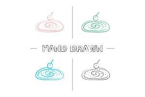 Cherry strudel hand drawn icons set
