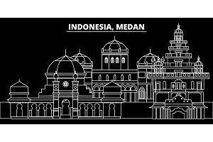 Medan silhouette skyline. Indonesia - Medan vector city, indonesian linear architecture, buildings. Medan travel illustration, outline landmarks. Indonesia flat icon, indonesian line banner