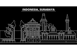 Surabaya silhouette skyline. Indonesia - Surabaya vector city, indonesian linear architecture, buildings. Surabaya travel illustration, outline landmarks. Indonesia flat icon, indonesian line banner