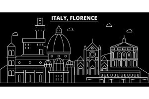 Florence city silhouette skyline. Italy - Florence city vector city, italian linear architecture, buildings. Florence city travel illustration, outline landmarks. Italy flat icon, italian line banner