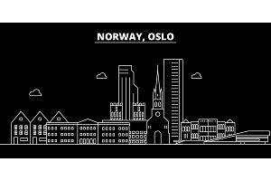 Oslo silhouette skyline. Norway - Oslo vector city, norwegian linear architecture, buildings. Oslo travel illustration, outline landmarks. Norway flat icon, norwegian line banner
