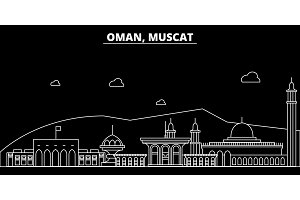 Muscat silhouette skyline. Oman - Muscat vector city, omani linear architecture, buildings. Muscat line travel illustration, landmarks. Oman flat icon, omani outline design banner