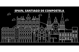 Santiago de Compostela silhouette skyline, vector city, spanish linear architecture. Santiago de Compostela travel illustration, outline landmark icon spanish line banner