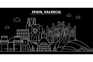 Valencia silhouette skyline. Spain - Valencia vector city, spanish linear architecture, buildings. Valencia travel illustration, outline landmarks. Spain flat icon, spanish line banner