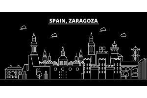 Zaragoza silhouette skyline. Spain - Zaragoza vector city, spanish linear architecture, buildings. Zaragoza travel illustration, outline landmarks. Spain flat icon, spanish line banner
