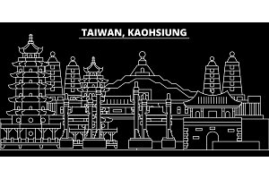 Kaohsiung silhouette skyline. Taiwan - Kaohsiung vector city, taiwanese linear architecture. Kaohsiung line travel illustration, landmarks. Taiwan flat icon, taiwanese outline design banner