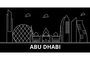 Abu Dhabi silhouette skyline. United Arab Emirates - Abu Dhabi vector city, arab linear architecture. Abu Dhabi line travel illustration, landmarks. United Arab Emirates flat icon,arab outline design