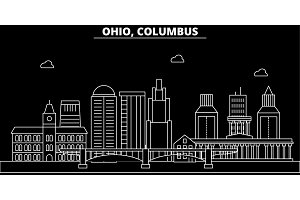 Columbus silhouette skyline. USA - Columbus vector city, american linear architecture, buildings. Columbus travel illustration, outline landmarks. USA flat icon, american line banner