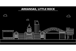 Little Rock silhouette skyline. USA - Little Rock vector city, american linear architecture, buildings. Little Rock travel illustration, outline landmarks. USA flat icon, american line banner