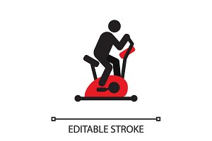 Man training with exercise bike silhouette icon