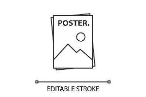 Poster template linear icon