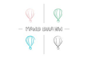 Hot air balloon hand drawn icons set