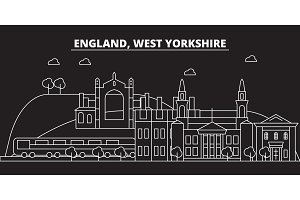 West Yorkshire silhouette skyline. Great Britain - West Yorkshire vector city, british linear architecture, travel illustration, outline landmarks. Great Britain flat icon, british line banner