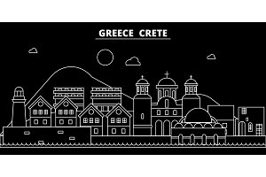 Crete silhouette skyline. Greece - Crete vector city, greek linear architecture, buildings. Crete travel illustration, outline landmarks. Greece flat icon, greek line banner