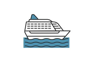 Cruise ship color icon