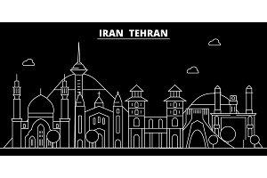 Tehran silhouette skyline. Iran - Tehran vector city, iranian linear architecture, buildings. Tehran travel illustration, outline landmarks. Iran flat icon, iranian line banner