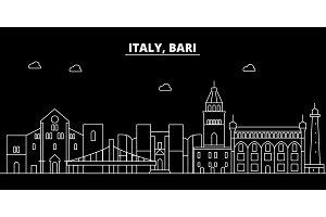 Bari silhouette skyline. Italy - Bari vector city, italian linear architecture, buildings. Bari travel illustration, outline landmarks. Italy flat icon, italian line banner