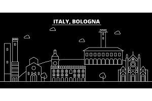 Bologna silhouette skyline. Italy - Bologna vector city, italian linear architecture, buildings. Bologna travel illustration, outline landmarks. Italy flat icon, italian line banner