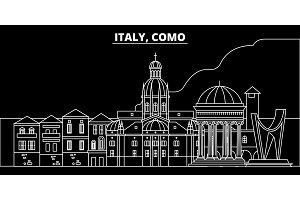 Como silhouette skyline. Italy - Como vector city, italian linear architecture, buildings. Como travel illustration, outline landmarks. Italy flat icon, italian line banner