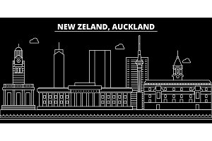 Auckland silhouette skyline. New Zealand - Auckland vector city, new zealand linear architecture. Auckland travel illustration, outline landmarks. New Zealand flat icon, new zealand line banner