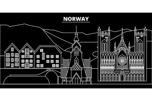 Norway silhouette skyline, vector city, norwegian linear architecture, buildings. Norway travel illustration, outline landmarkflat icon, norwegian line banner