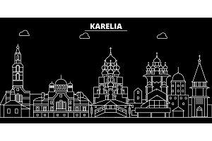 Karelia silhouette skyline. Russia - Karelia vector city, russian linear architecture, buildings. Karelia travel illustration, outline landmarks. Russia flat icon, russian line banner