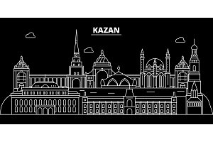 Kazan silhouette skyline. Russia - Kazan vector city, russian linear architecture, buildings. Kazan travel illustration, outline landmarks. Russia flat icon, russian line banner