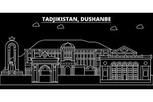 Dushanbe silhouette skyline. Tajikistan - Dushanbe vector city, tajik linear architecture, buildings. Dushanbe travel illustration, outline landmarks. Tajikistan flat icon, tajik line banner