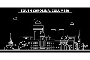 Columbia silhouette skyline. USA - Columbia vector city, american linear architecture, buildings. Columbia travel illustration, outline landmarks. USA flat icon, american line banner