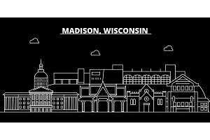 Madison silhouette skyline. USA - Madison vector city, american linear architecture, buildings. Madison travel illustration, outline landmarks. USA flat icon, american line banner
