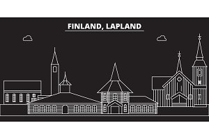 Lapland silhouette skyline. Finland - Lapland vector city, finnish linear architecture, buildings. Lapland travel illustration, outline landmarks. Finland flat icon, finnish line banner