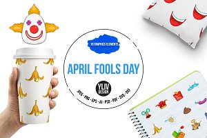 April fools day icons set, cartoon s