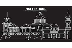 Oulu silhouette skyline. Finland - Oulu vector city, finnish linear architecture, buildings. Oulu travel illustration, outline landmarks. Finland flat icon, finnish line banner