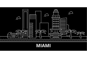 Miami city silhouette skyline. USA - Miami city vector city, american linear architecture, buildings. Miami city travel illustration, outline landmarks. USA flat icon, american line banner
