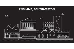 Southampton silhouette skyline. Great Britain - Southampton vector city, british linear architecture. Southampton travel illustration, outline landmarks. Great Britain flat icon, british line banner