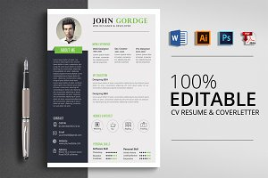 Creative Job CV Resume Word File