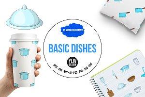 Basic dishes icons set, cartoon styl