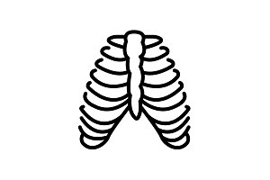 Web line icon. Ribs black on white