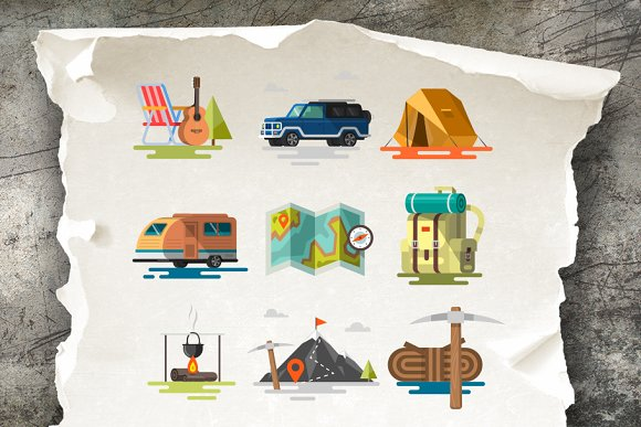 9b9a7914d374bd Camping icons and illustrations ~ Illustrations ~ Creative Market