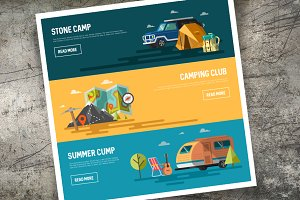 Camping icons and illustrations