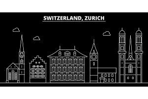 Zurich silhouette skyline. Switzerland - Zurich vector city, swiss linear architecture, buildings. Zurich travel illustration, outline landmarks. Switzerland flat icon, swiss line banner