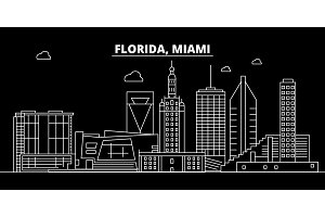 Miami silhouette skyline. USA - Miami vector city, american linear architecture, buildings. Miami travel illustration, outline landmarks. USA flat icon, american line banner