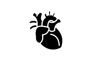 Web icon. Human heart black on white