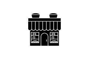 Bakery building black icon concept. Bakery building  vector sign, symbol, illustration.