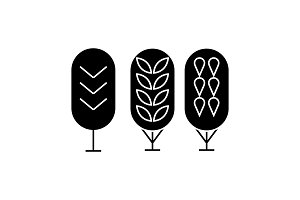 Birch tree black icon concept. Birch tree  vector sign, symbol, illustration.