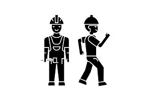 Builder man black icon concept. Builder man  vector sign, symbol, illustration.