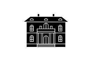 Cute villa black icon concept. Cute villa  vector sign, symbol, illustration.