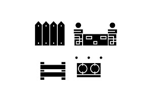Fences black icon concept. Fences  vector sign, symbol, illustration.