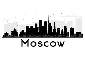 Moscow City skyline black and white