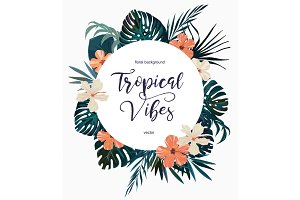 Exotic vector tropical logo.